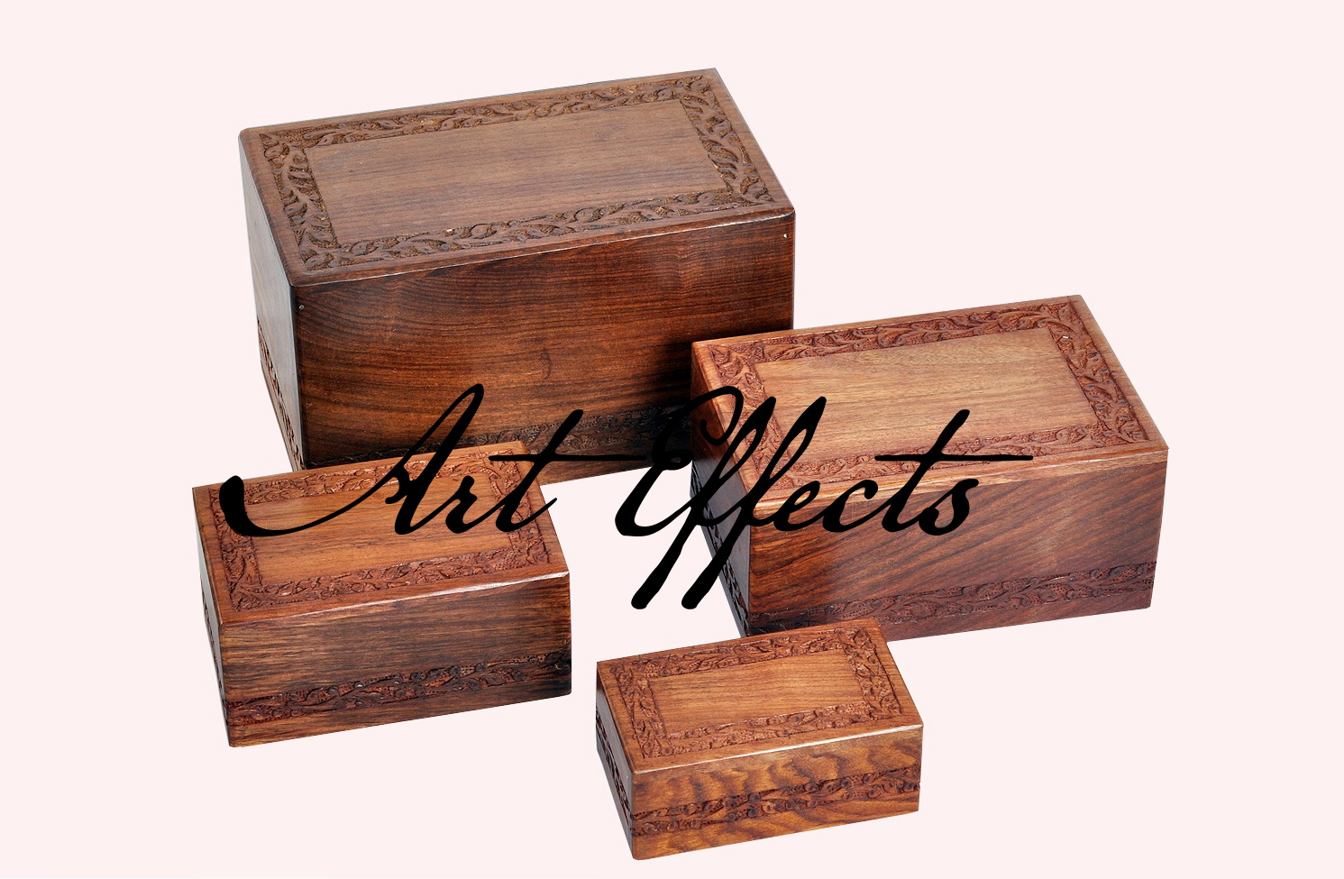Hand Carved Border Design Wooden Urn